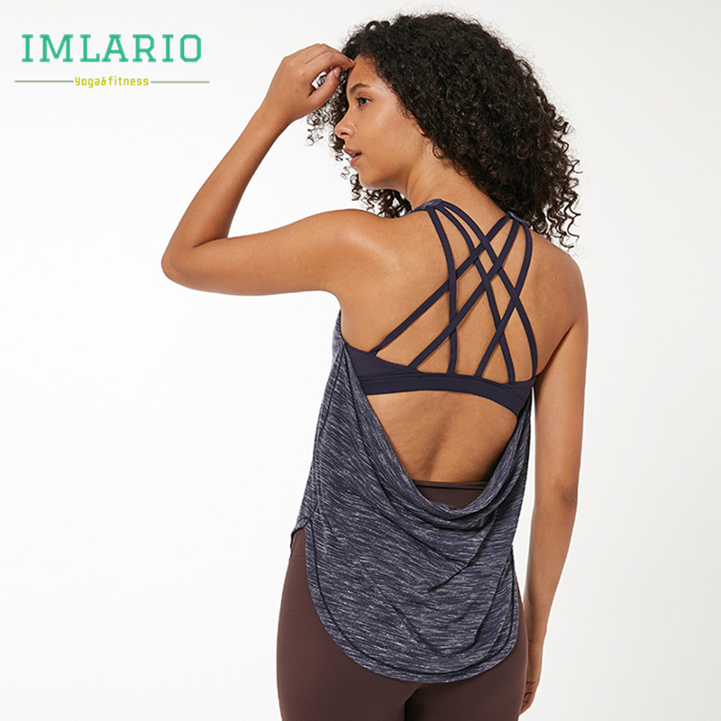 <+>  Imlario Womens Sport 2 в 1 Майка Racerback CrissCross Impact Спортивный топ для йоги Встроенный трен ★