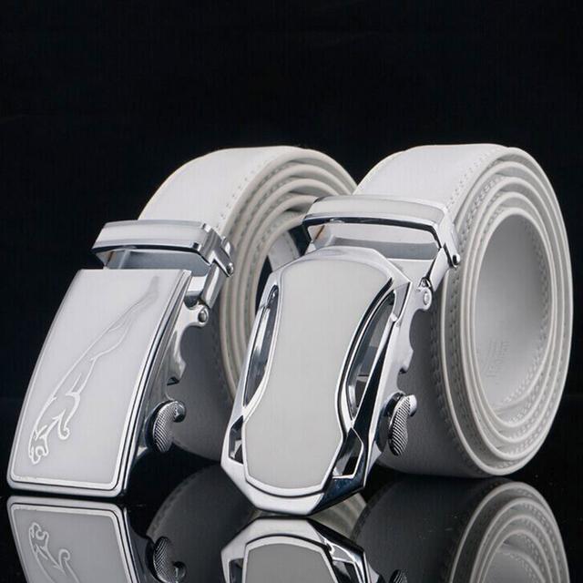 Jaguar Diseñadores Marca de Lujo de cuero de Vaca Hebilla Automática Cinturones de Cuero Genuino para Hombre de Alta Calidad de piel de Vaca Ceinture Homme Blanco