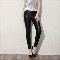 2017 חורף סתיו בתוספת גודל גדול Fashional דקים אלסטי טלאי PU נשים חותלות מכנסיים עיפרון Bodycon נשי XS S M L XL