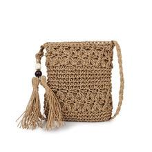 Dropship Women Messenger Bags Bohemian Straw Crochet Beach Bag Summer Lady Bucket Cross Body Fringe Girl Cute Small