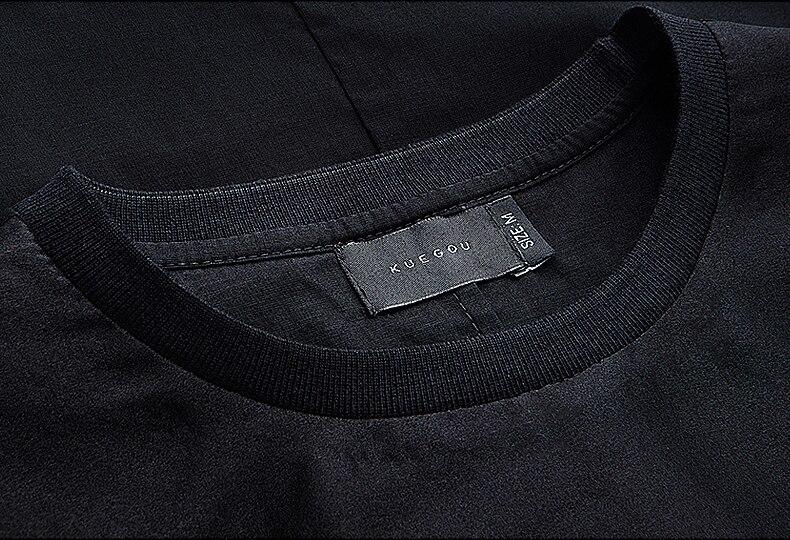 KUEGOU Yeni Yaz Kişi Moda T-Shirts Patchwork İp Çap Qara Marka - Kişi geyimi - Fotoqrafiya 4
