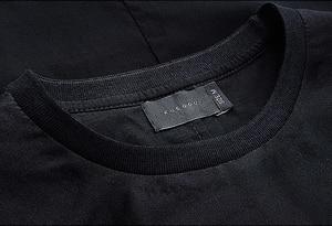 Image 4 - KUEGOU camiseta negra de hilo de retales de algodón para hombre, camiseta de marca para hombre, camiseta de manga corta, camiseta de moda 2020