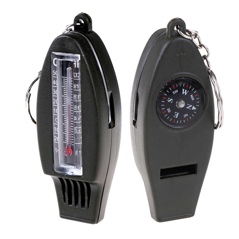 Multifunctional 4 in1 Compass Thermometer Whistle Magnifier For Traveling Camping Hiking Climbing Outdoor Sports