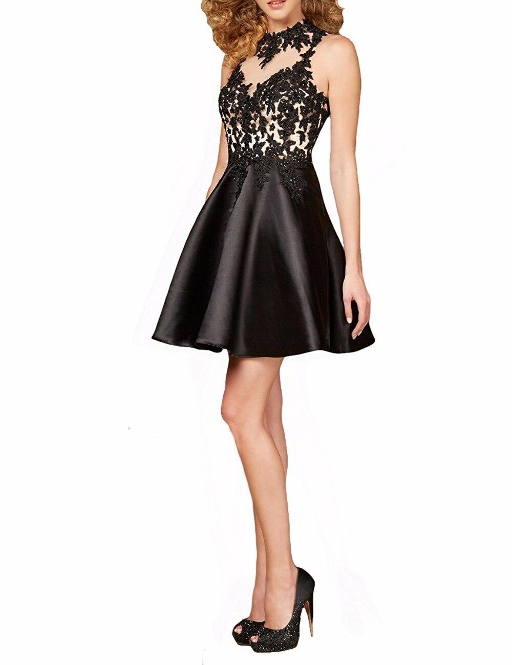 Black dress juniors - Customise Lace Short Black Prom Dresses Sheer Vestido De Festa A Line Junior Party Dresses