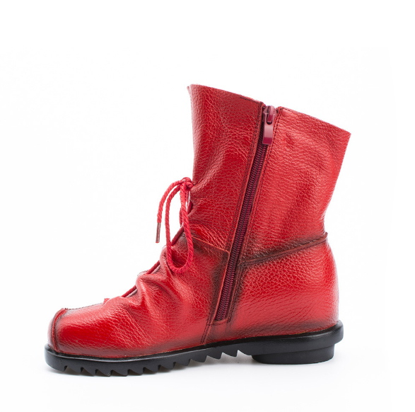 XEK Genuine Leather Ankle Boots Ladies Casual Warm Comfortable Flat Winter Boot For Women GSS76