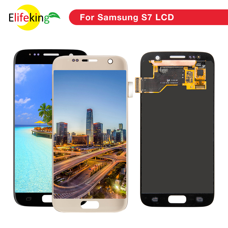 ORIGINAL 5.1'' SUPER AMOLED Replacement LCD with Frame for SAMSUNG Galaxy S7 Display G930 G930F Touch Screen Digitizer