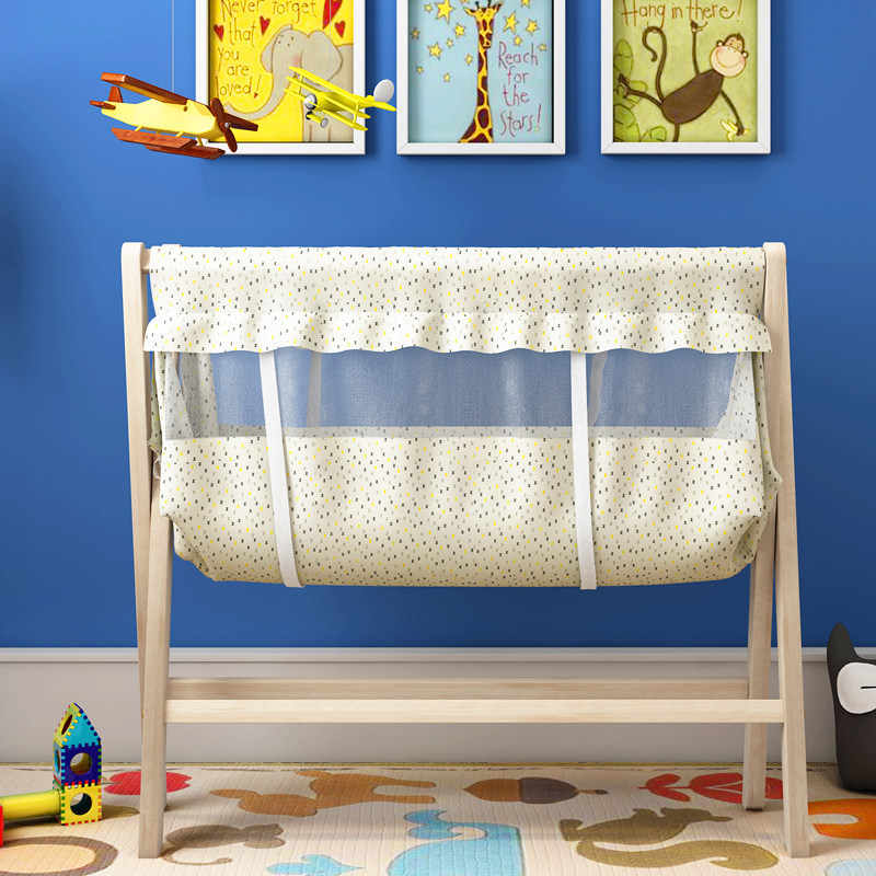 Природа деревянная детская кроватка маленькая качалка кровать мульти-функция детская кровать москитная сетка бесплатный подарок легко складывается