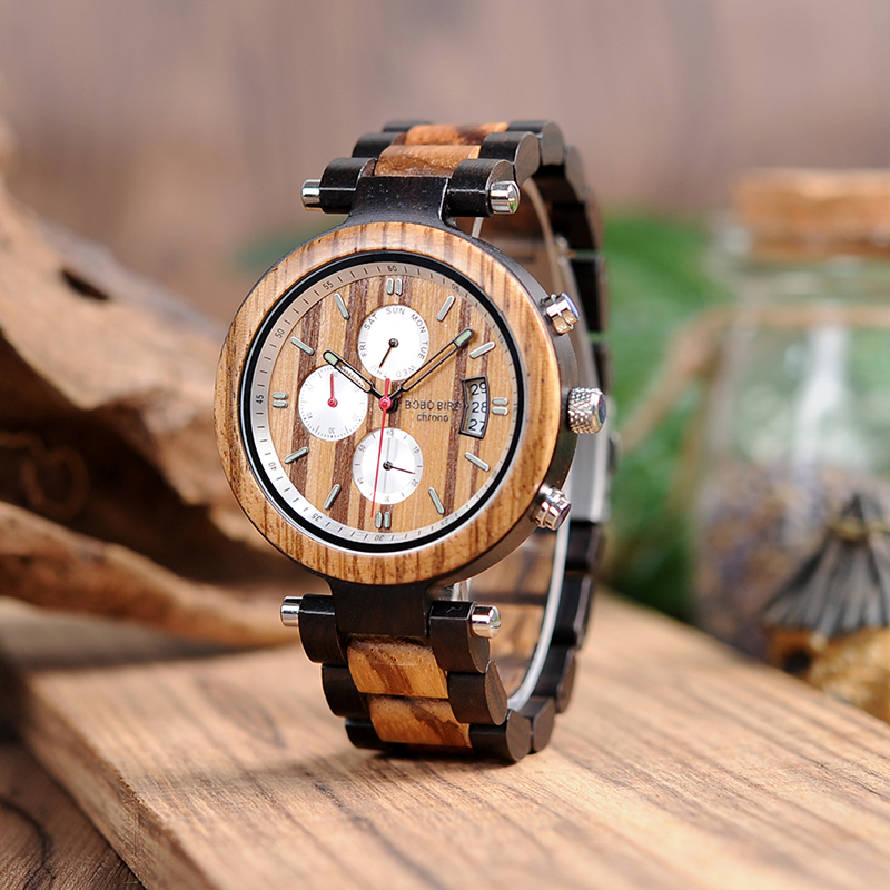 BOBO BIRD wooden Watches men Quartz wrist watch Stopwatch Gift for male Friend in wood box saat erkek clock bobo bird wh05 brand design classic ebony wooden mens watch full wood strap quartz watches lightweight gift for men in wood box