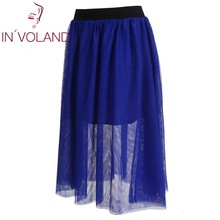 IN'VOLAND Women Midi Skirt Elastic Waist Mesh Ballet Pleated Layered Mesh Tulle High Waist Lady Skater Skirt Plus Size XL-4XL