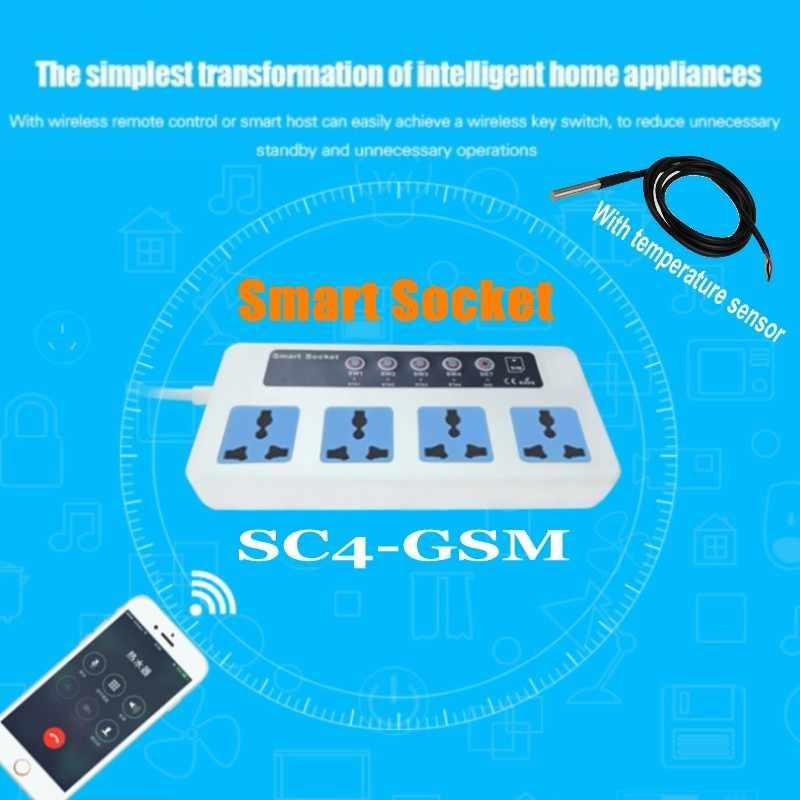 SC4 SC3 GSM с датчиком температуры 4 розетки GSM SMS Пульт дистанционного управления беспроводной умный переключатель разъем питания Модуль управления Лер