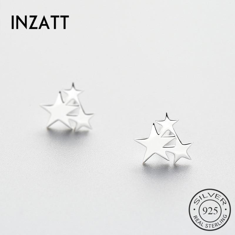 INZATT OL Geometric Star Stud Earrings 2018 For Women Birthday Gift Party MInimalist Trendy 925 Sterling Silver Fine Jewelry