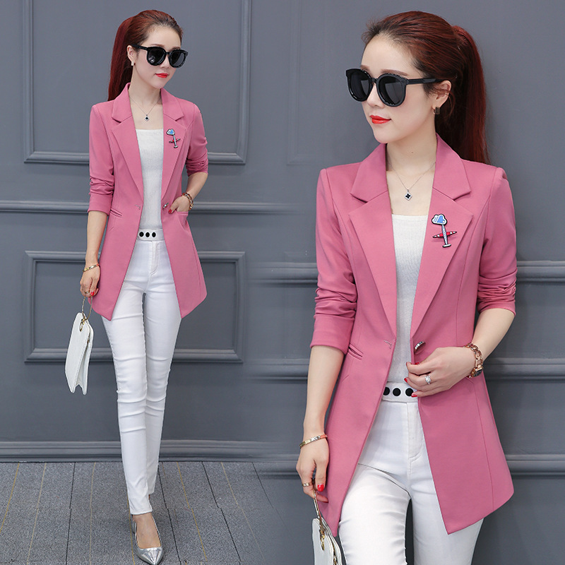 Spring And 2019 Autumn New Long Section Of Simple Casual Fashion Slim Small Suit Women Solid Color  Suit Jacket AL1893