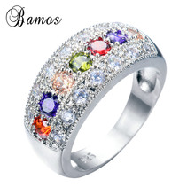 Bamos Women Red Purple Ring Bohemian Rainbow Ring Fashion 92