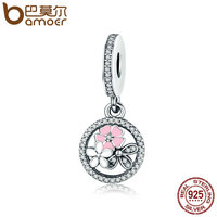 BAMOER 925 Sterling Silver Poetic Blooms Mixed Enamels Clear CZ Charms Fit Bracelets Bangles DIY Fine