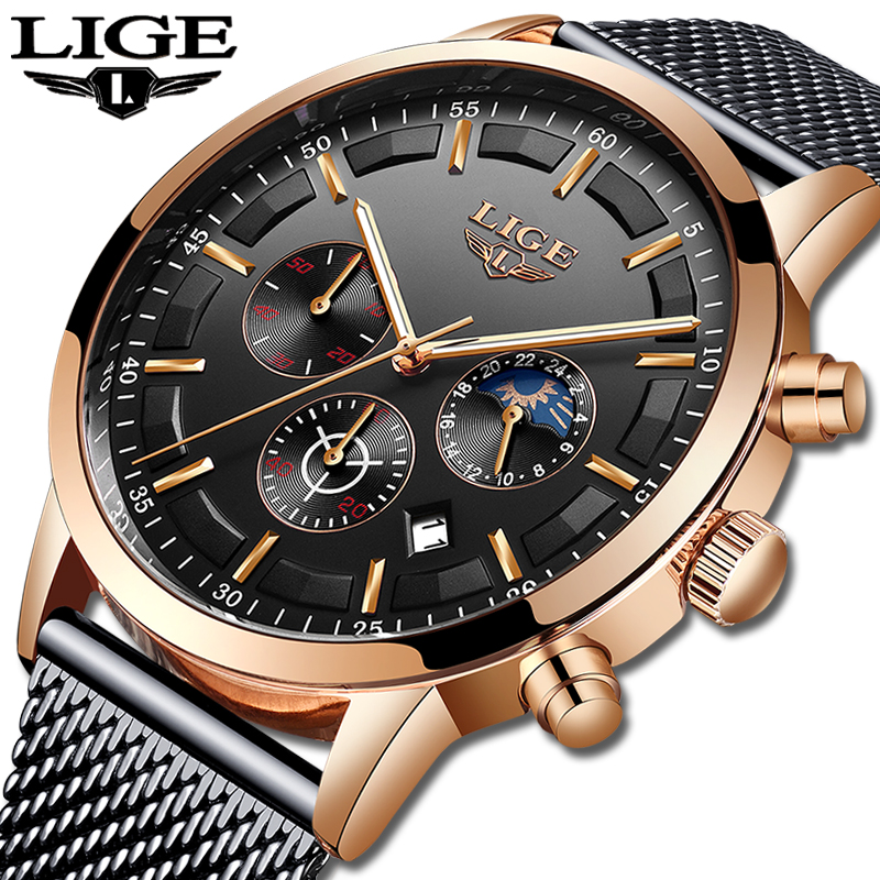 2019 LIGE Mens Watches Top Brand Luxury Casual Quartz WristWatch For Men Military Full Steel Waterproof Sport Clock Reloj Hombre in Quartz Watches from Watches