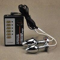Yetişkin Oyunları Çift Elektro Şok Anal Plug Popo fiş Elektrot Çift Ve Sevenler Için Anüs Fiş