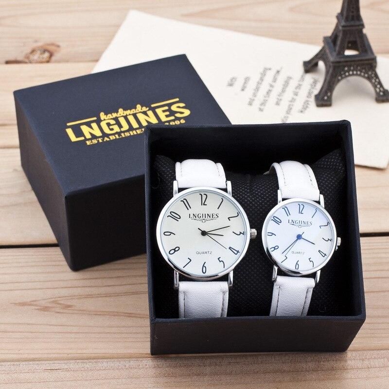 2PCS Couple Watch Gift Box Fashion Leather Band Analog Quartz Round Wrist Watch Arabic Numerals Ladies Watches Relogio Masculino