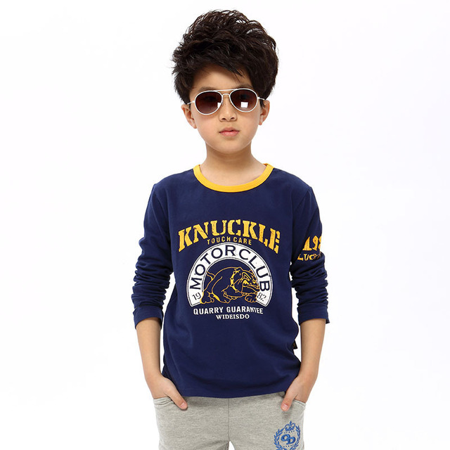 kids 2017new spring Active pug printing O-Neck children t-shirt 100% cotton model Long sleeve  boys clothes 4 6 8 10 12 14 years