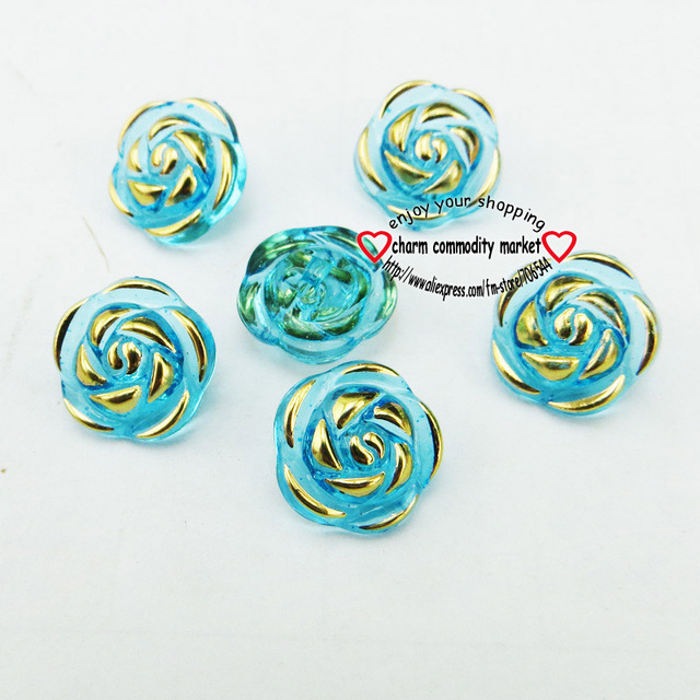 50PCS 13MM ROSE ACRYLIC Dyed Plastic buttons coat sewing clothes accessories garment flower button decoration  A-016-1