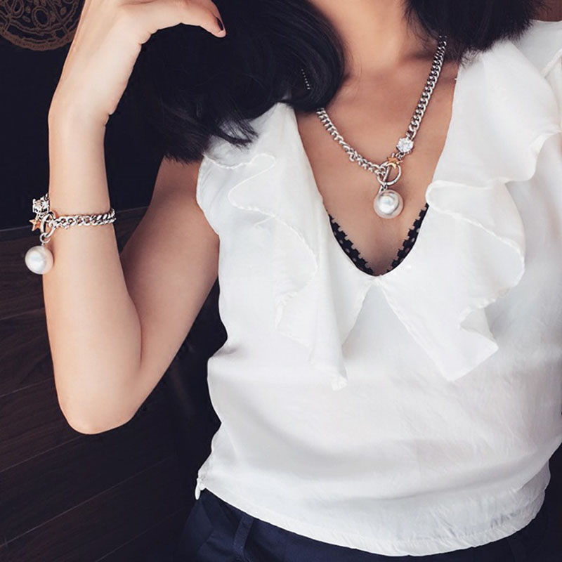 RE Korean OT buckle rhinestone pearl necklaces star pendant metal chain necklace chunky short chains for women collier femme D35 in Pendant Necklaces from Jewelry Accessories