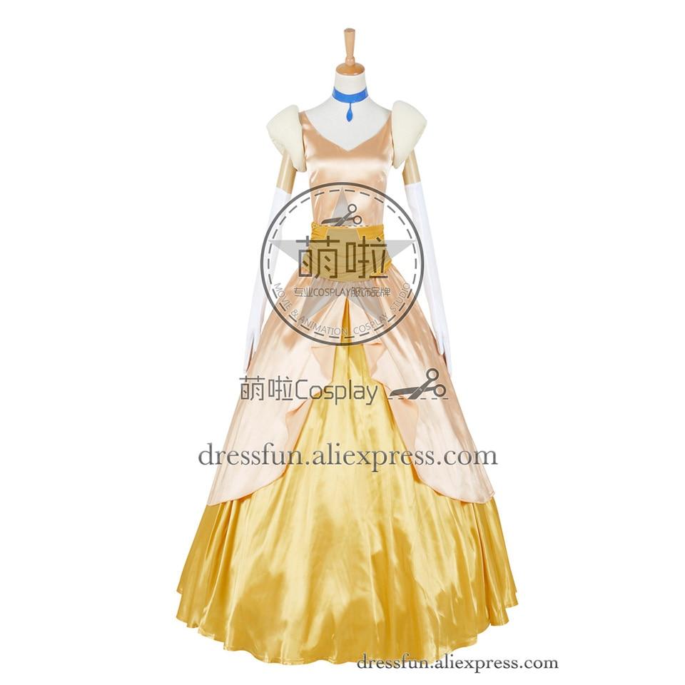 Cinderella II 2: Dreams Come True Cosplay Princess Cinderella Costume Golden Formal Dress Clothing Fast Shipping Halloween