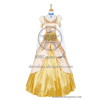 Cinderella II 2: Dreams Come True Cosplay Princess Cinderella Costume Golden Formal Dress Clothing Fast Shipping Halloween