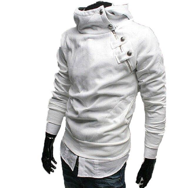 2016 Hoodies Men Sudaderas Hombre Hip Hop Mens Brand Fur Collar Metal Buckle Hoodie Sweatshirt Slim Fit Men Hoody