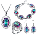 2016 Turquoise Jewelry Sets Silver Plated Wedding Ornamment  Women Fine Romantic Pendant Necklace Drop Earrings Ring Set