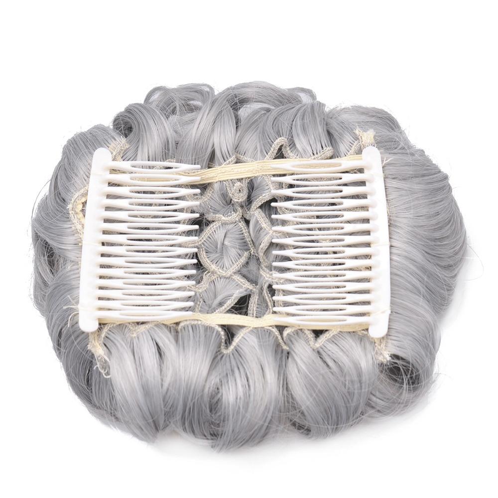 OUBECA Kvinnors Grå Curly Chignon Elastic Gummi Band Combs Klipp I - Syntetiskt hår - Foto 2