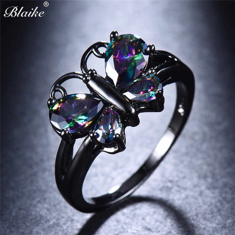 Blaike Cute Butterfly Multicolor Zircon Rings For Women Black Gold Filled Charm Birthstone Engagement Jewelry Valentine Gifts