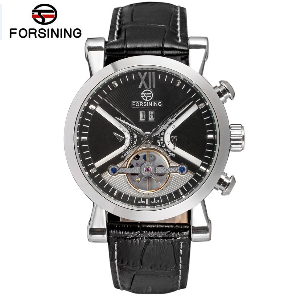 FORSINING 2017 Luxury Men's Mechanical Relogio Masculino Watch Auto Day Tourbillion Wristwatch Gift Box Free Ship 2016 luxury relogio masculino day week month tourbillon auto mechanical watch wristwatch valentine s day gifts box free ship