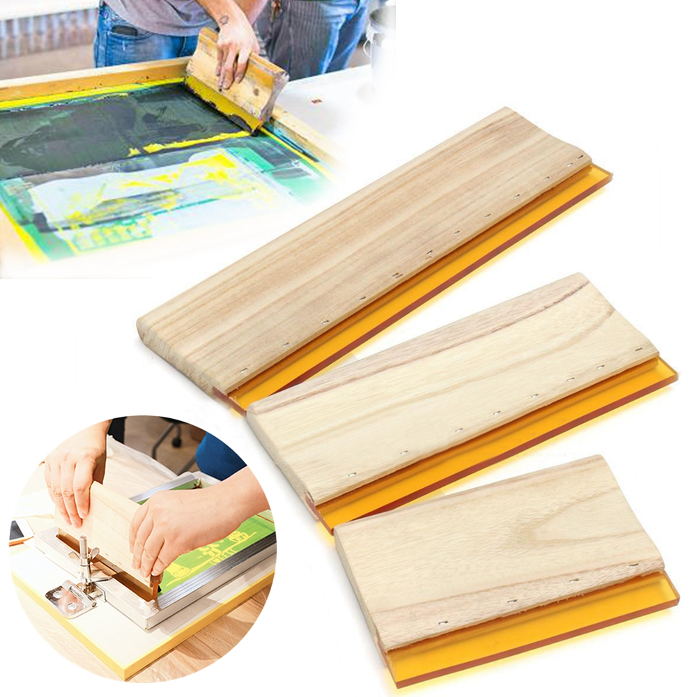 Wear-proof Silk Screen Printing Squeegee Blade With Wood Handle DIY Silkscreen Printing Ink Rubber Scraper Board Tools