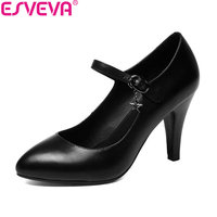 ESVEVA 2018 Women Pumps Buckle Strap OL Cow Leather PU Two Types Heel Elegant Thin High Heels Pointed Toe Pumps Shoes Size 34 42