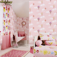 beibehang Mediterranean blue boy girl bedroom wallpaper cartoon background wallpaper hot air balloon wallpapers for living room