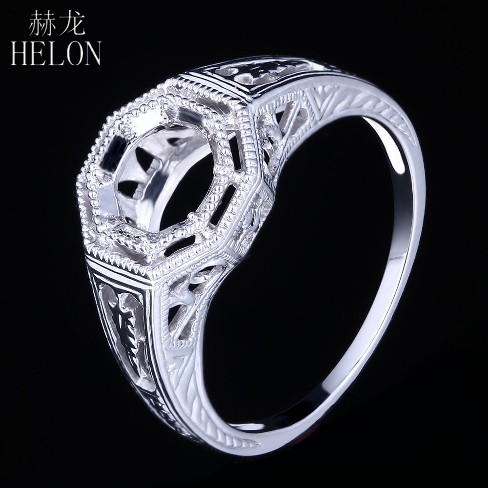 HELON Solid 14K White Gold Engagement Wedding Engrave Filigree Fancy Ring 6mm Round Semi Mount Art Nouveau Women's Jewelry Ring бальзам для губ eos shimmer lip balm sheer pink цвет sheer pink variant hex name e2afba