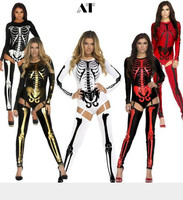 Helloween Sexy Women Skeleton Costumes Human Adult Womens Halloween Nightclub Party Clothes
