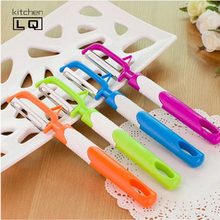 Free Shipping new design candy color large fruit peeler stainless steel blade cucumber potatoes carrots paner kitchen gadgets