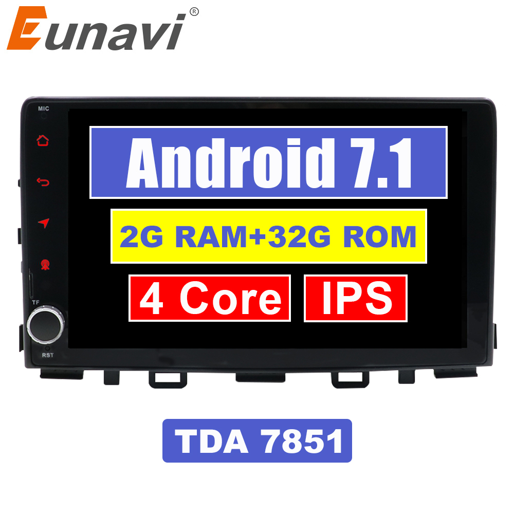Eunavi 1 Din 9'' Android 7.1 Car Radio Stereo GPS Navigation for Kia Rio 2017 Multimedia 2G RAM WIFI Bluetooth USB RDS