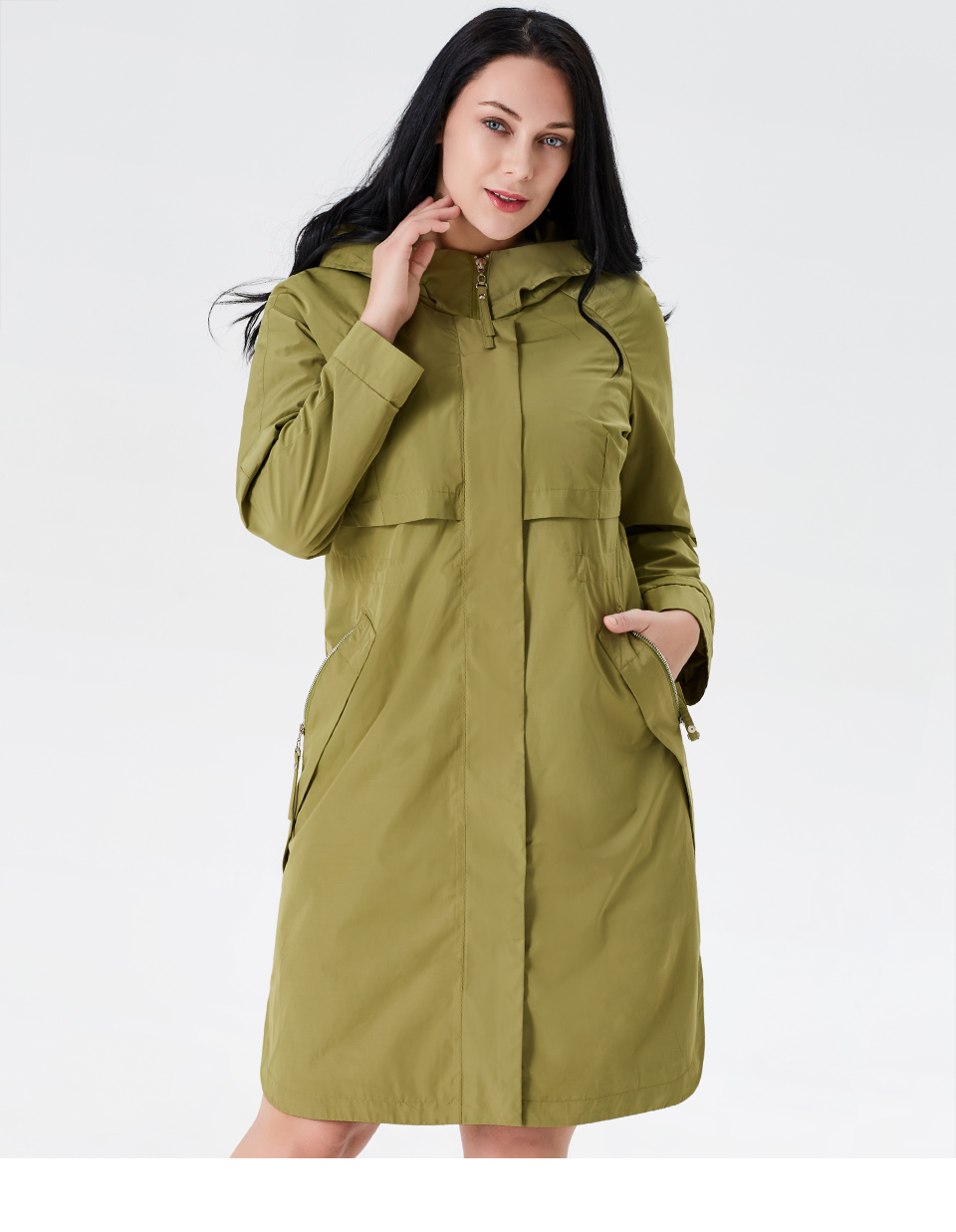 19 Trench Coat Spring And Autumn Women Causal coat Long Sleeve With Hood Solid color female moda muje High Quality new AS-9046 1