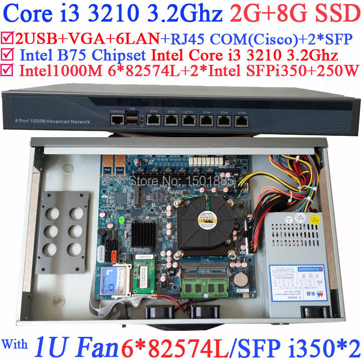 Office router Intel Core i3 3210 CPU firewall server for htpc education hotel 2G RAM 8G SSD