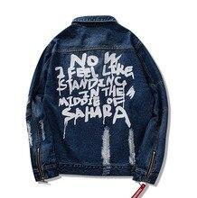 Mcikkny бренд хип хоп джинсовая куртка для мужчин печатных проблемных пальто мужской рваные модные джинсы куртки Уличная Цвет: черный, синий