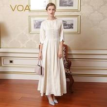 VOA 2017 Summer New Silk Vintage Women White Maxi Dress Fashion Plus Size Beading Luxury Palace Style Long Pleated Dress A7765