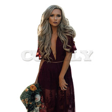 CUERLY Sexy See Through Burgundy Lace Dress Women Summer High Waist V-neck Dress Elegant Maxi Long Dress Vestidos cuerly sexy see through burgundy lace dress women summer high waist v neck dress elegant maxi long dress vestidos