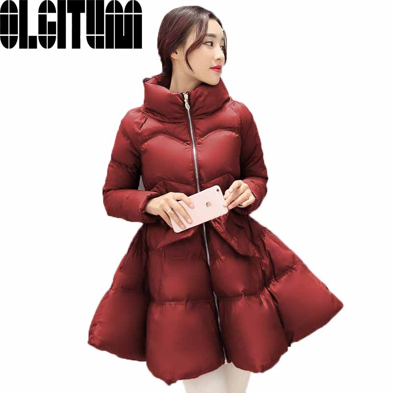 Hot saleing 2017 New Arrival Winter Women Down And Parkas Thick Bow Waist Fluffy Skirt Warm