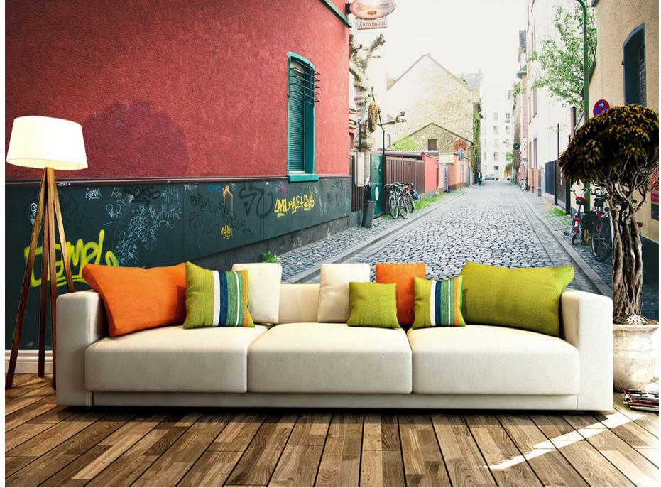 home decoration 3d wall murals wallpaper murals 3d european city streets window mural