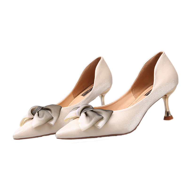 Thin High Heels Sexy Ladies Pumps Women Shoes 2019 Autumn Pointed Toe Bow Knot Shallow Wedding Shoes Woman Pumps Office Shoes 28