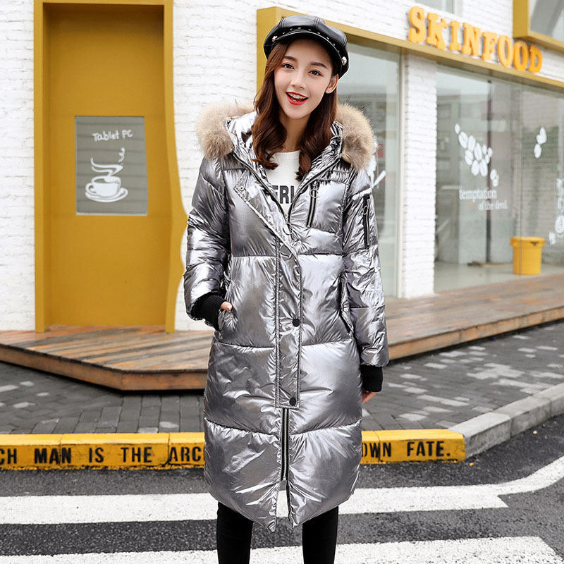 2019 New   Down   Jacket Women Long Large Fur Collar Thick Warm Winter Parka Casual Hoode Jacket   Coat   Fashion Glossy Jacket