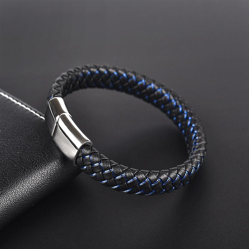 New Men Jewelry Punk Black Blue Braided Leather Bracelet for Men Stainless Steel Magnetic Clasp Fashion Bangles Gifts