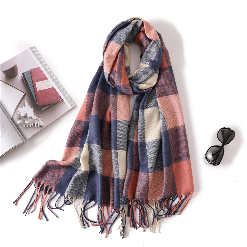 2020 Luxury Brand Women Scarf Fashion Plaid Winter Cashmere Scarves For Lady Pashmina Warm Neck Bandana Blanket Shawls Wrap