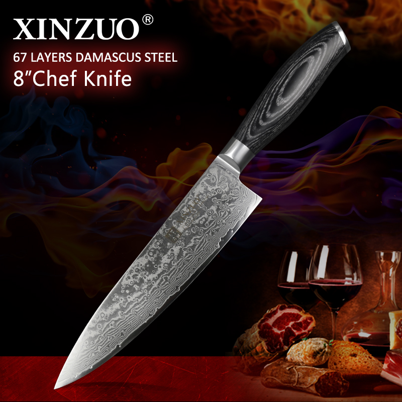 XINZUO 8 inch Professionl Chef Knife Damascus vg10 Steel Pakkawood Handle Kitchen Knife Steel Stainless Steel